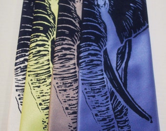 Elephant silkscreen neckties. Microfiber screen printed with navy blue ink.