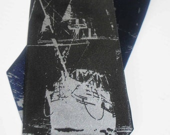 Ship silkscreen neckties. Microfiber screen printed boat silver ink tie.