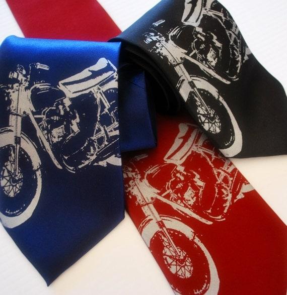 Vintage Motorcycle silkscreen neckties. Microfiber screen printed motorbike tie.