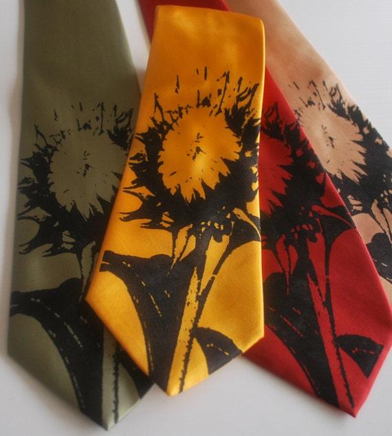 Sunflower silkscreen neckties. Microfiber screen printed sunflower tie.