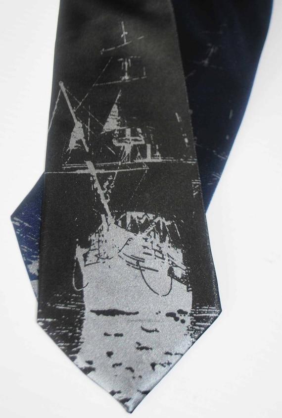 Ship silkscreen neckties. Microfiber screen printed boat silver ink tie.