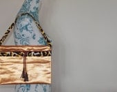 On SALE. Notebook sleeve or handbag. Upcycled vintage Obi kimono belt with cord and tassles. Ready to ship.