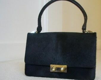 Vintage Black Ponyskin Handbag by Alligator of Mexico