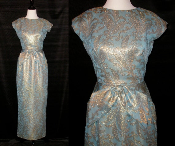 Reserved through 3/29 for DF /// Vintage  Cap-sleeve Maxi Dress in Pale Blue w Gold Embroidery by FANYA SF