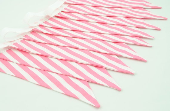 Pretty Party Bunting - PINK CANDY STRIPES - 9 flags - 8ft plus ties, a perfect decoration for Baby Showers and Parties