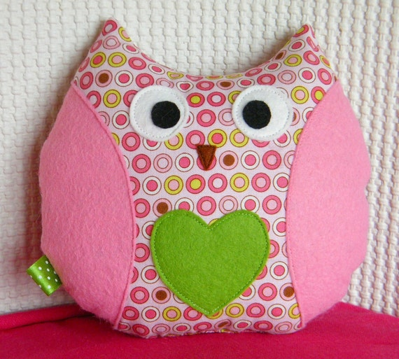 Owl Plushie - Daisy - Made with Designer Fabric - READY TO SHIP