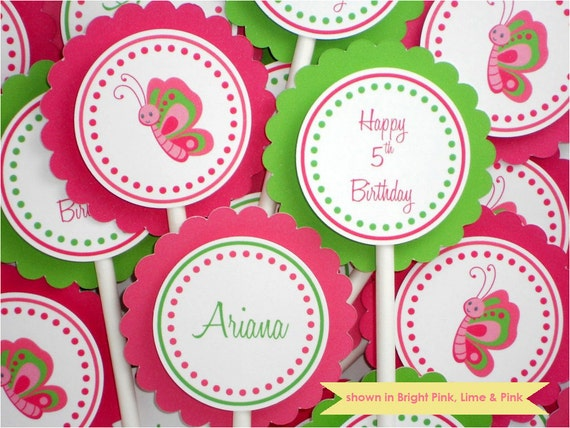Butterfly Cupcake Toppers - Personalized Butterfly Party Decorations - Colors Customizable