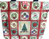 Christmas Tote or Knitting Bag - SALE