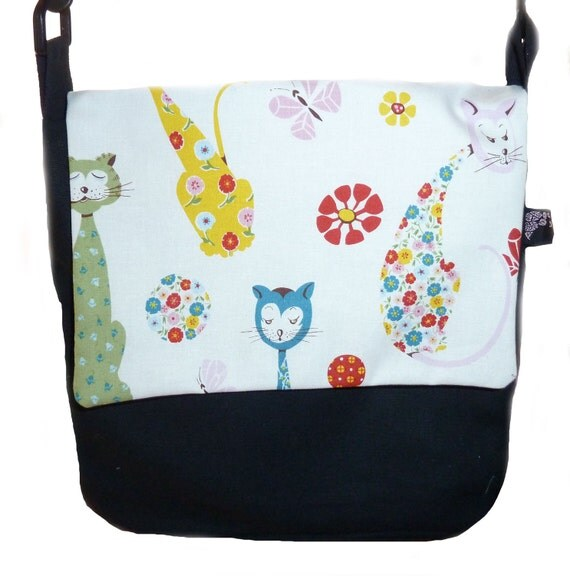 Black Messenger bag with Calico Cats - SALE