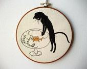 Printed Fabric Hoop Art Wall Hanging - Curious Cat