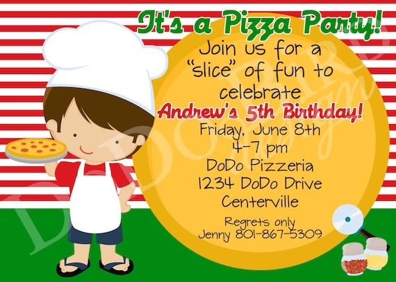 Pizza Party Birthday Party Invitation Boy Girl Personalized Printable Digital DIY