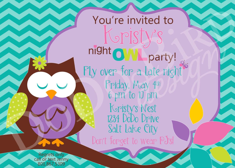 Girl Night Owl Slumber Party Late Night Birthday Invitation