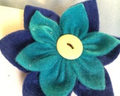 Blue Felt Flower, Your Choice Barrette, Ponytail or Brooch Pin