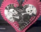 Red 'Skull and Crossbones' Heart Hanging Decoration