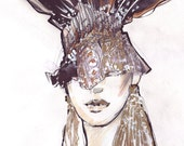 Fashion illustration portrait mixed techinque