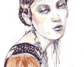 Fashion illustration preciously decorated portrait gold black white markers and watercolors