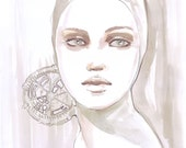 Print from original watercolor and fashion illustration, watercolor portrait in soft pink