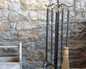 Braided Iron Fireplace/Hearth tool set, Heirloom Quality, Made by Mike Hill, Artist Blacksmith