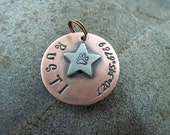 Pet ID Tag - Copper Handstamped Pet Tag with a Star
