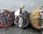"""Cat Tag - dog Tag - Small Pet Tag - Pet ID Tag - Dog Collar tag - 3/4"""" Round Tag in Copper,Brass, or Nickel with charm - Personalized Pet"""