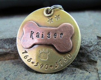 Large Pet Tag -Dog id Tag - Pet ID Tag - Copper Bone on Brass - Custom Dog Tag - Pet Collar Tag - Paw Print - Personalized - Pet Accessories