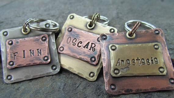 Pet Tags - Dog Tag - Pet ID Tag - Pet Tag - Personalized Pet - Pet Accessories - Dog Collar Tag - Mixed Metals Copper, Brass or Nickel
