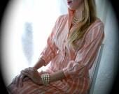 1950s Cotton Dress - Stripped Day Dress - size 6 Vintage Dress - Polished Cotton Dress - White and Peach Dress