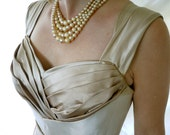 Vintage 1950s Mad Man  Designer Bombshell Designer  Gown in Golds and Brown reserved for Sarah
