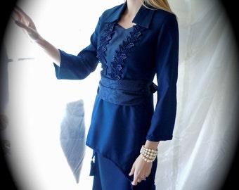 Midnight Blue Dress - Edwardian Dress - Victorian Dress - Handmade Costume - Two Piece Dress