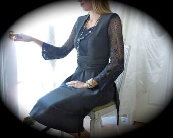 Edwardian Dress - Handmade Costume - Two Piece Dress - Victorian Style Dress - Grey Edwardian Dress