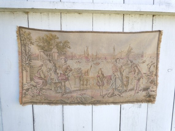Antique Tapestry  from Belgium...Shabby Chic Style