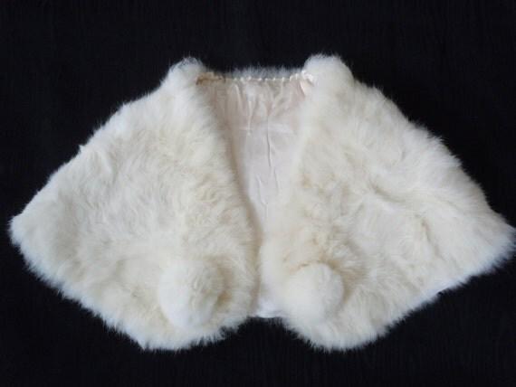 Vintage White Bunny Fur Pom Pom Evening Cape from 1960s