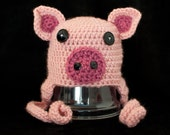 Pink Pig Crochet Baby Hat, Photo Prop, Costume