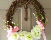 Pink and White Wedding Wreath 18 inches
