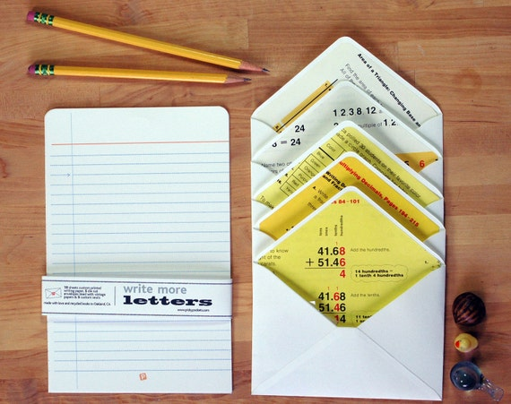 Made from a math book. Set of five die cut lined envelopes, 10 sheets custom lined paper, custom seals.