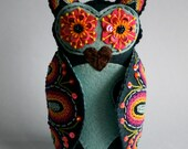 15% OFF SALE  Owl- Embroidered Felt- Mexican Folk Art- Hoot