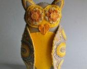 Owl Soft Sculpture- Embroidered Felt- Mexican Folk Art- Grey & Yellow