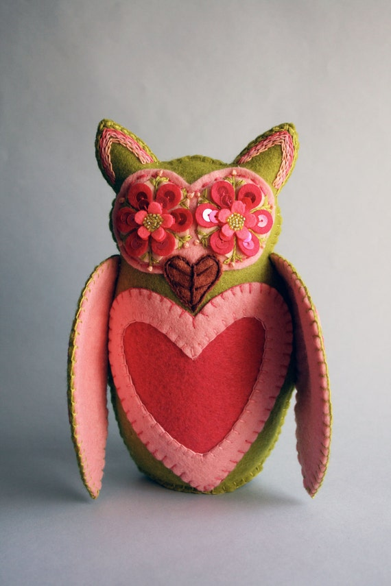 Owl Doll- Embroidered Wool Felt- Mexican Folk Art- Hoot