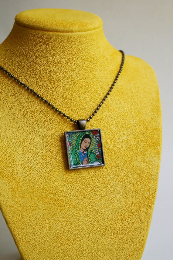Mexican Folk Art Jewelry - Virgin of Guadalupe Pendant Necklace-  Our Lady, Virgin Mary, Virgen de Guadalupe