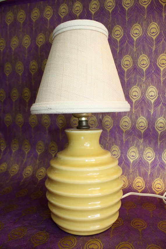 Vintage Beehive Yellow Lamp