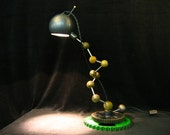 Steampunk Industrial LED Desk Lamp ATOM Steel Balls and Rods Magnet Mounted Steel Ball Shade