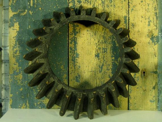 Vintage Wood Gear Mold Model Garden Art Steampunk Industrial