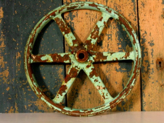 Cast Iron Wheels And Gears : Vintage cast iron belt wheel gear rusty and by