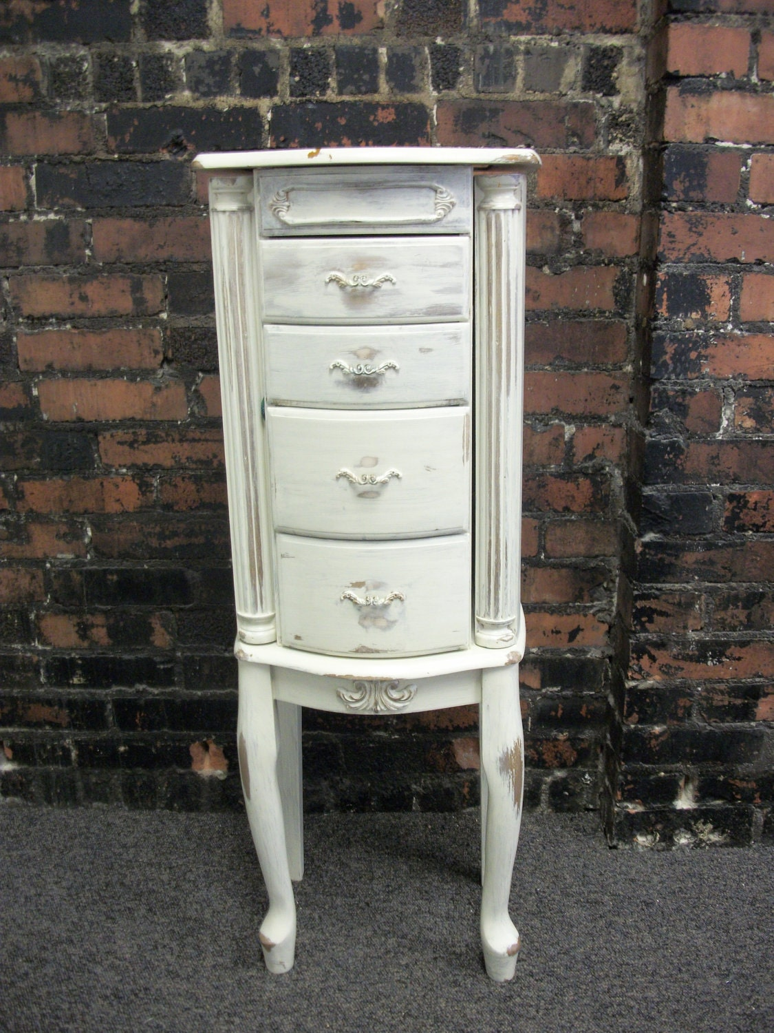 Vintage Jewelry Armoire Distressed