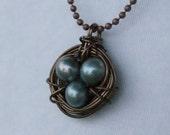 Vintaj Brass Bird Nest Necklace with Blue Freshwater Pearls