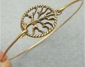 Tree Brass Bangle Bracelet