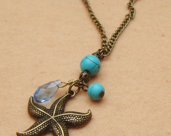 Starfish and Crystal Turquoise Necklace