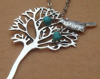 Bird Tree and Turquoise Necklace