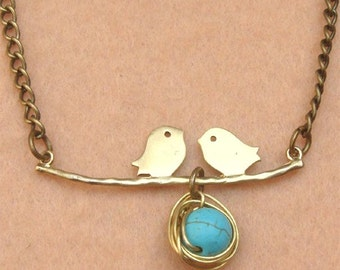 Bird Nest Leaf and Turquoise Necklace