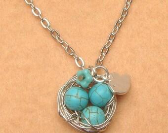 Bird Nest Bird and Turquoise Necklace